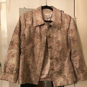 Chicos Linen-Like Metallic Blazer, Size 1, M 8/10